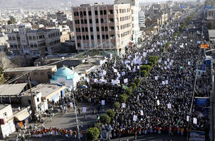 Thousands protest after president resigns in Yemen